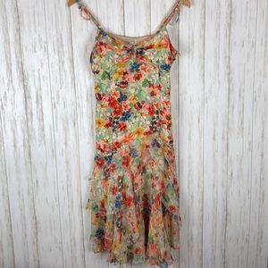 Karen Millen England Silk Floral Ruffle Dress
